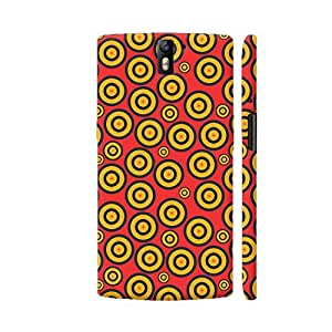 Colorpur Black And Yellow Circles On Red Artwork On OnePlus One Cover (Designer Mobile Back Case) | Artist: Designer Chennai