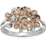 Sterling Silver Cluster Flower Diamond Ring