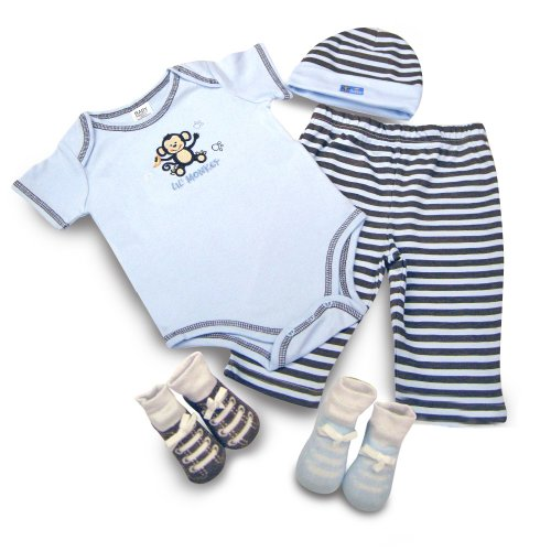 Baby Essentials Novelty Layette Gift Set for Boys, Blue/Brown, 3-6 Months