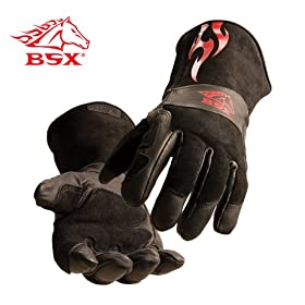 BLACK STALLION BSX� Stick/MIG Welding Gloves - Black w/Red Flames - LARGE