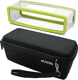 Acatim Hard Case Travel Bag Plus Soft Cover for Bose Soundlink Mini Bluetooth Portable Wireless Speaker 1 & II, Black/Green