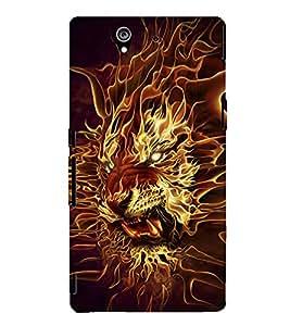 EPICCASE Burnung Tiger Mobile Back Case Cover For Sony Xperia Z (Designer Case)