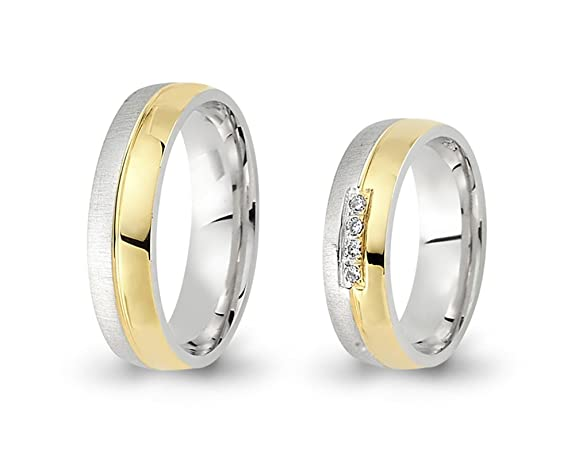 2 Wedding Rings / Friendship Rings Bi-Colour Gold 750 with Brilliant CC3517502