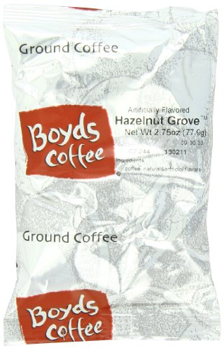 Boyds Coffee Hazelnut Grovee Flavored Ground Medium Roast Coffee, 2.75-Ounce Portion Packs (Pack Of 43)