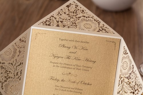 Wishmade 100x White Square Laser Cut Wedding Invitations Cards with Lace Flowers Engagement Birthday Bridal Shower Baby Shower Graduation Party Favors CW520WH 6