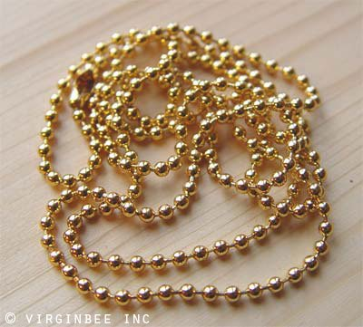 "BALL CHAIN TEN 10 BEADED NECKLACES GOLD PLATED CHAINS 24"" LENGTH 2.4MM WIDTH WHOLESALE LOT"