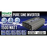 PowerTech ON Advanced Technology PURE SINE WAVE Inverter 1500W Cont/3000W Peak, 12v Dc -120v Ac W/black & Red Cables W/ring Terminals, Remote Switch, Protection System & 4 Output Sockets-PS1005