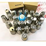 TANGCHU Russian Piping Tips 29PCS/SET Stainless Steel Large Size Icing Syringe Set DIY Coupler Nozzle 5 Pastry Bags 1 Decorating Coupler
