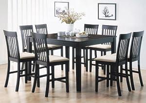 Bar Height Dining Room Table Sienna Black Finish 9 Piece Set Hom