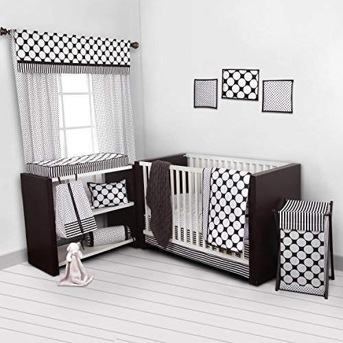 Bacati - Dots/pin Stripes Black/white 10 Pc Crib Set Bumperfree