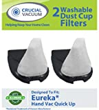 2 Eureka Quick Up Washable & Reusable Dust Cup Filters Fits Eureka Quick Up Vacuum Cleaner Models: 61, 70, 71, 61A, 70A, 70AX, 71A, 71AV, 71B, AG61A, UK61A, Z61A; Compare to Eureka Part # 39657; Designed & Engineered By Crucial Vacuum
