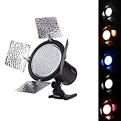 YONGNUO YN216 YN-216 LED Video Camera Light with 5500K Color Temperature and 4 Color Plates for Canon Nikon DSLR Cameras