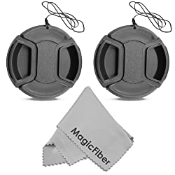 (2-Pack) 52MM Center Pinch Lens Cap for Nikon D3200 D3100 D3000 D5200 D5100 D5000 D90 D80 D60 D40 DSLR Camera with 18-55mm or 55-200mm Lens + MagicFiber Microfiber Lens Cleaning Cloth