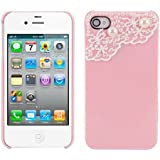 kwmobile® LUXUS STRASS CASE mit Spitzen Design für Apple iPhone 4 / 4S in Rosa