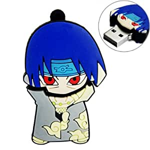 4GB USB Flash Drive RQ1180 Rubber Naruto Uchiha Itachi Shaped USB Flash Drive 4G Memory Stick USB 2.0 U Disk - Blue and Grey