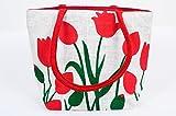 FabSeasons Floral Print Jute Bag - Red