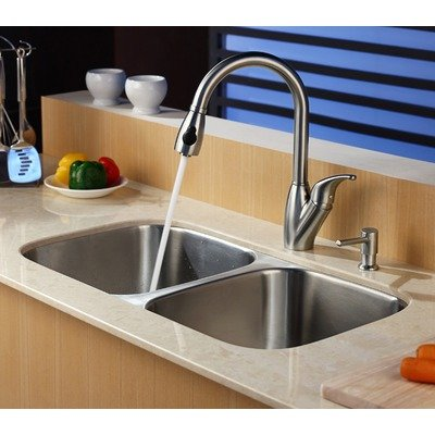 Kraus KPF-2120-SD20 Single Lever Pull Out Kitchen Faucet and Soap Dispenser, Stainless Steel