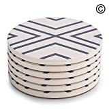 "Lifver 6-Piece Absorbent Stone Coaster set, ""drink"" spills coasters, Grey-Lines"