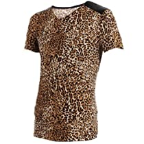 Allegra K Mens Leopard Pattern 2012 NEW Stylish V Neck Summer T-shirt Tops (L (US 42), Brown)