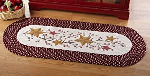 Primitive Country Stars And Berries Braided Runner