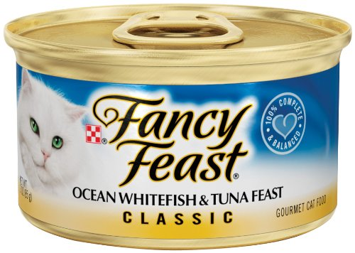 Fancy Feast Gourmet Cat Food, Ocean Whitefish & Tuna Feast, Classic 3-Ounce Cans (Pack of 24)
