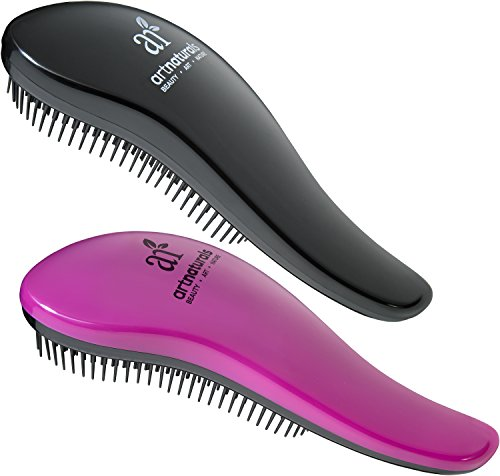 Art Naturals Detangling Hair Brush 2pc Set, Pink & Black - Glide the Detangler Through Tangled Hair - Best Brush / Comb for Women, Girls, Men and Boys - Use in Wet and Dry Hair - Top Detangling Brush (Hair Brush For Curly Hair compare prices)