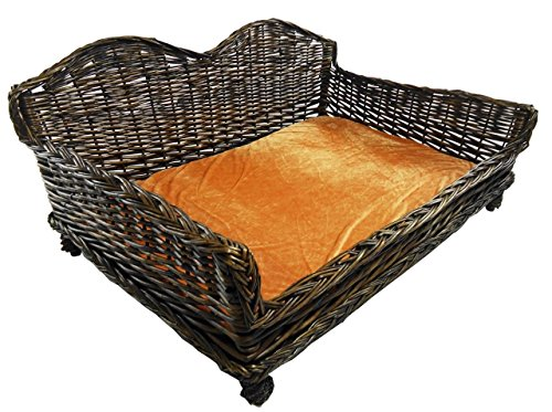 Big Wicker Willow Dog Bed Basket Couch Bed Padded Cushion