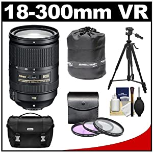 Nikon 18-300mm f/3.5-5.6G VR DX ED AF-S Nikkor-Zoom Lens with 3 (UV/ND8/CPL) Filters + Case + Tripod + Kit for D3100, D3200, D3300, D5100, D5200, D5300, D7000, D7100 DSLR Cameras from Nikon Cameras