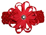 Rhinestone Ribbon Flower Hair Bow Headband ~ Red