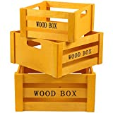 JAM Paper® Nested Wood Crates - Yellow / Brown Decorative Wooden Crate Set with Handles - 3 Wooden Boxes per Set