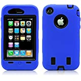 iPhone 3 / 3GS Case, MagicMobile® Hard Shockproof Dirtproof Impact Resistant Shell Cover with Soft Silicone Skin Rubber Protection Layer Blue / Black