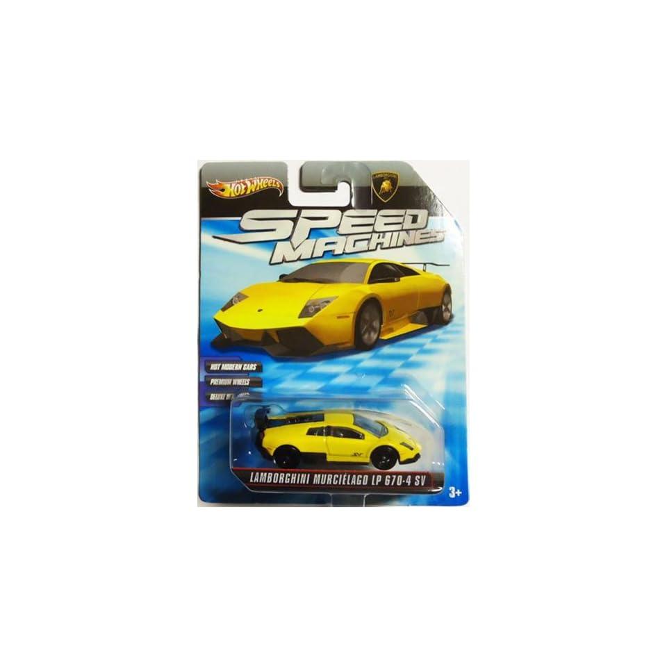 LAMBORGHINI MURCIELAGO LP 670 4 SV 2009 2010 Hot Wheels Speed Machines LAMBORGHINI MURCIELAGO LP 670 4 SV (yellow) 164 Scale Collectible Die Cast Car