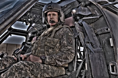 Aviation Wall Decals Hdr Image Of A Pilot Sitting In The Cockpit Of A Uh-60 Black Hawk - 24 Inches X 16 Inches - Peel And Stick Removable Graphic
