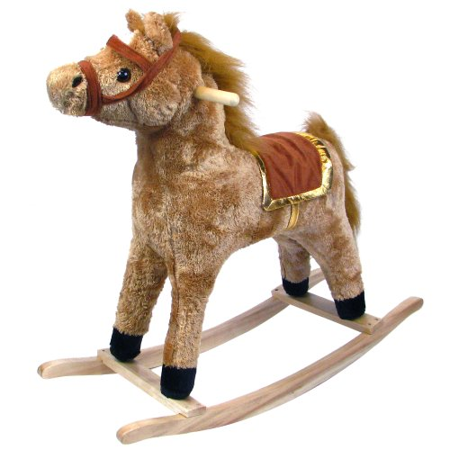 Happy Trails Horse Plush Rocking Horse - Wooden Rocker