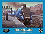 The Mallard in the train station. 4468 Doncaster. Blue train, locomation steam engine. Station Portor. Retro vintage advert. For house, home, bar, pub or shop. Small Metal/Steel Wall Sign