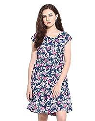 Navy Multi Flower Printed Dress Small