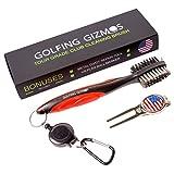 Golf Club Brush Cleaner - Premium Tour Grade and Heavy Duty - Ideal Golf Gift For Golfers - Bonus Golf Divot Tool - Golfing Gizmos (Black Red)