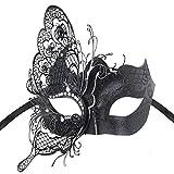 Coofit - Antifaz, diseño veneciano elegante de mariposa, para fiestas, color negro