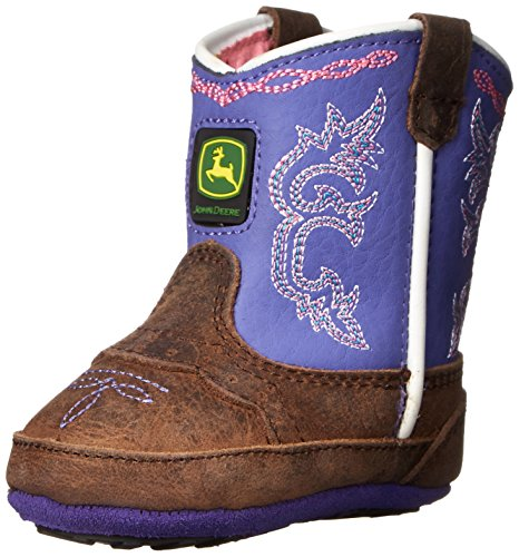 John Deere JD0158 Pull On Crib Boot (Infant), Dark Brown/Purple, 2 M US Infant