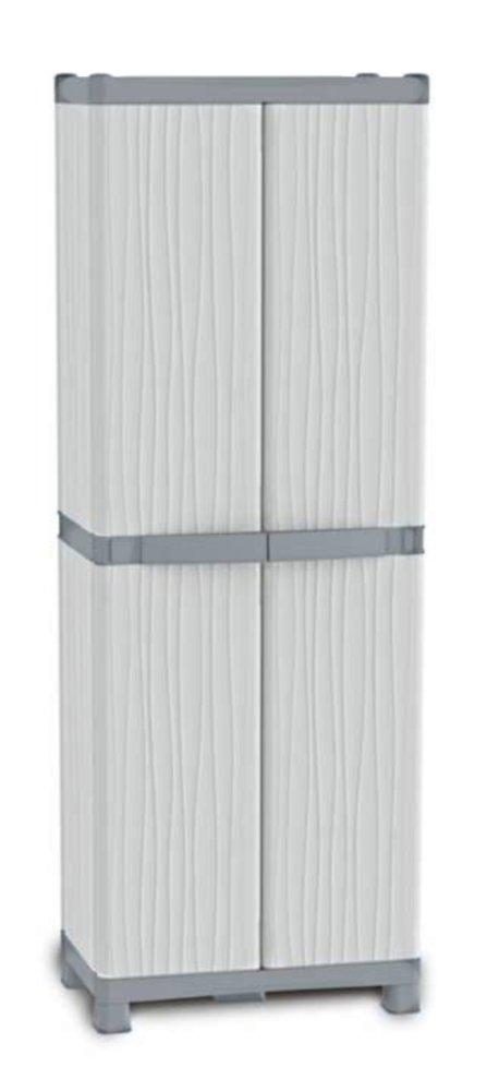 Hochschrank XL DOMINO WAVE mit 4 verstellbaren Böden, 4 Körbe in den Türen und einem innovativem Verschlußsystem  Raumwunder mit 2,10 m Höhe in toller Optik  BaumarktBewertungen und Beschreibung