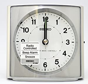 seiko radio controlled alarm clock qhr021s kitchen home. Black Bedroom Furniture Sets. Home Design Ideas