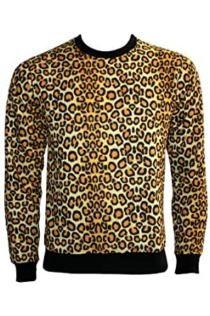 Original Leopard Print Sweatshirt Jumper (Large, Yellow & Black)