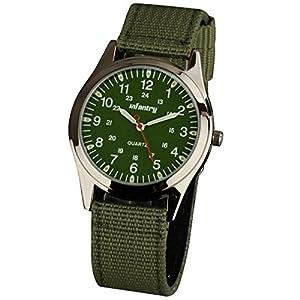 INFANTRY Night Vision Military Quartz Green Dial Sport Mens Wrist Watch Nylon Strap #IN-018-G-N
