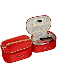 Kuber Industries™ Bridal Vanty Box,Cosmetic Organiser,Make Up Kit,Multi Purpose Kit Set Of 2 Pcs Red (KI19630)