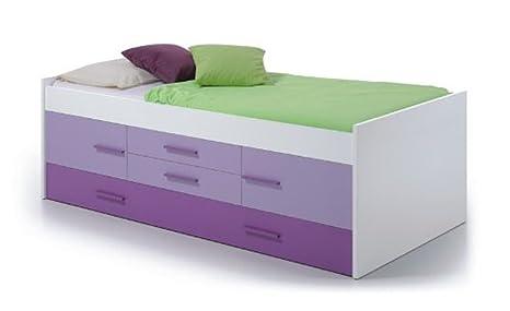 Lit double LIMA avec 2 portes et 2 tiroirs, coloris lilas / blanc, 65 x 201 x 99 cm -PEGANE-