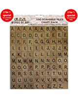 Wooden Scrabble Tiles -2 Sets of 100 Tiles for Crafting (More useful letter selection)