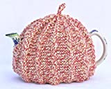 Knit Tea Cozy Cosy Handmade Washable Red, White, Beige