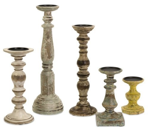IMAX Kanan Wood Candleholders In Distressed Finishes Set Of 5