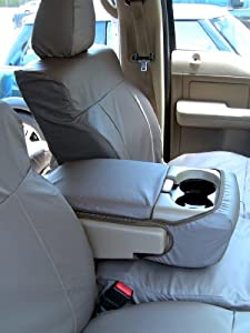 Exact Seat Covers, FD13 L4, 2004-2008 Ford F150 Super Crew Front and Rear Seat Set Custom Fit Seat Covers, Taupe Leatherette