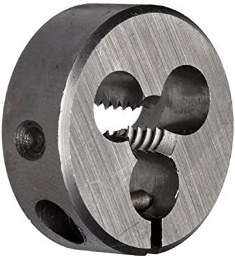 "Union Butterfield 2510(UNC) High-Speed Steel Round Threading Die, Uncoated (Bright) Finish, 1"" OD, 1/4""-20 Thread Size"